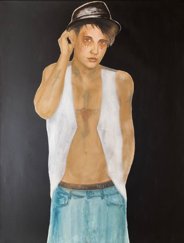 Men Painting, oil, impressionism, artwork by Fiona Maclean