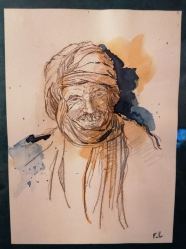 Portrait Painting, watercolor, oriental art, artwork by Florence Lebbed
