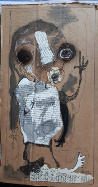 Drawing, collages, outsider art, artwork by Dominique Fossey