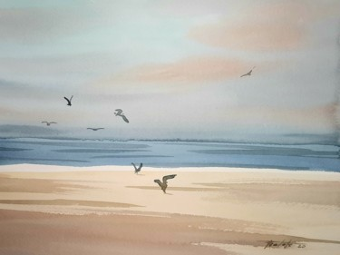 Beach Painting, watercolor, impressionism, artwork by Francisco Cadete