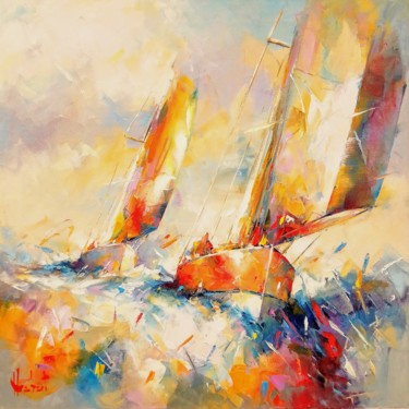 Boat Painting, oil, expressionism, artwork by Franck Hebert