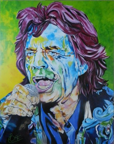 """Painting titled """"Mick Jagger"""" by Francoise Souriau, Original Art, Acrylic"""