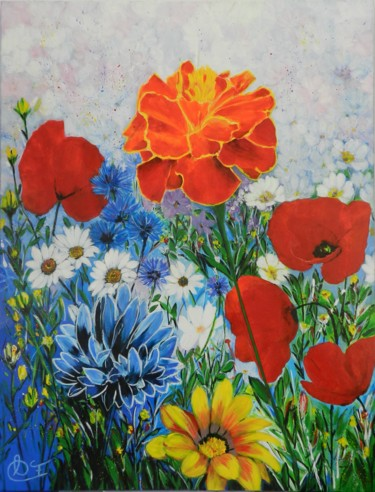 """Painting titled """"floral 4"""" by Francoise Souriau, Original Art, Acrylic"""
