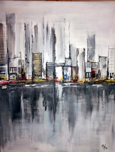 """Painting titled """"Abstract City 2"""" by Mof, Original Art, Acrylic"""