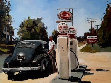 """Painting titled """"A full tank of fuel"""" by Federika Di Maggio, Original Art, Oil Mounted on Stretcher frame"""