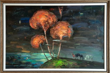 """Painting titled """""""" Полнолуние """""""" by Фуркат, Original Art, Oil Mounted on Stretcher frame"""