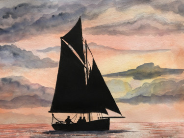 Boat Painting, watercolor, outsider art, artwork by Guillaume Flouriot