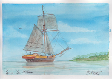 """Painting titled """"Sloop The William"""" by Guillaume Flouriot, Original Art, Watercolor"""