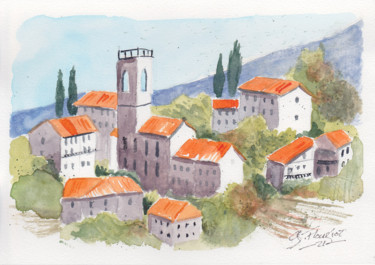 Landscape Painting, watercolor, outsider art, artwork by Guillaume Flouriot