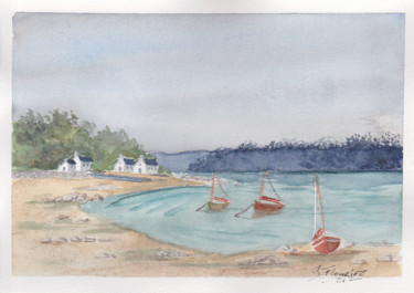 Seascape Painting, watercolor, outsider art, artwork by Guillaume Flouriot