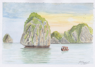 """Painting titled """"Baie d'Halong"""" by Guillaume Flouriot, Original Art, Watercolor"""