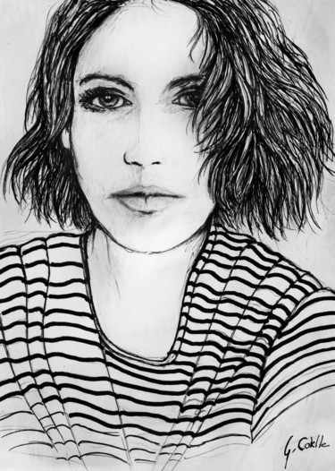 """Drawing titled """"Ou cheveux courts ?"""" by Gabriel Cotelle, Original Art, Ink"""