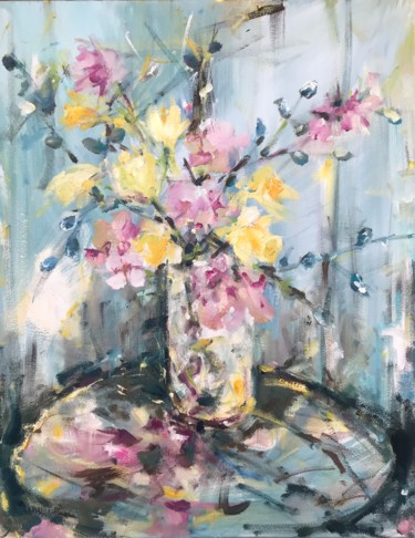 """Painting titled """"Spring Flowers"""" by Gabriel Knollys, Original Art, Oil"""