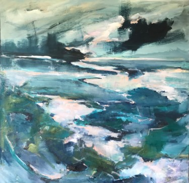 Beach Painting, oil, expressionism, artwork by Gabriel Knollys