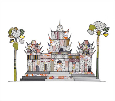 Monument Drawing, collages, illustration, artwork by Gaelle Souchez