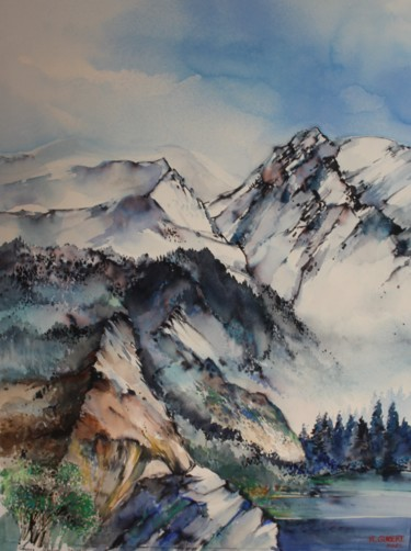 Mountainscape Painting, watercolor, figurative, artwork by Raymond Guibert