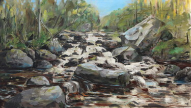 """Painting titled """"Rapids on the Vichk…"""" by Galina Shepeleva, Original Art, Oil"""
