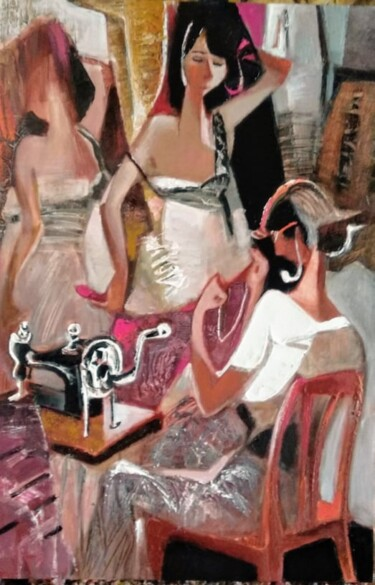 """Painting titled """"At the dressmaker"""" by Galya Didur, Original Art, Acrylic"""
