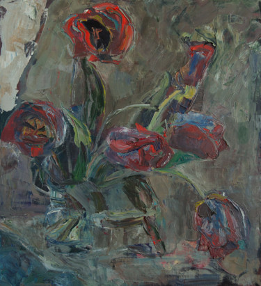 """Painting titled """"Tulips"""" by Hanna Furs, Original Art, Oil"""