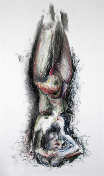 """Drawing titled """"How the knowledge-p…"""" by Gerrit Cnossen, Original Art, Pastel Mounted on Cardboard"""