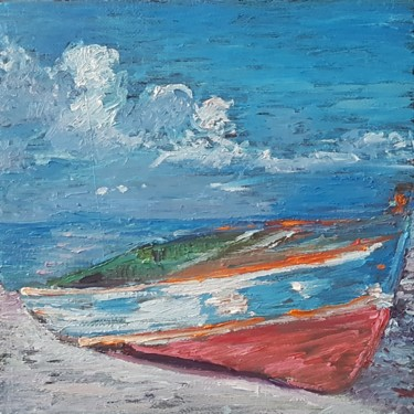 """Painting titled """"Boat on shore"""" by George Bacov, Original Art, Oil"""