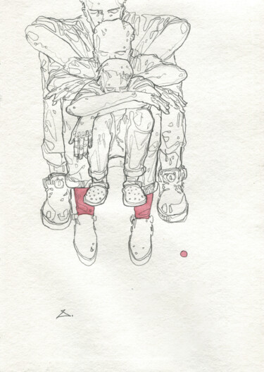 """Drawing titled """"Red"""" by Georgy Stork, Original Art, Pencil Mounted on Wood Panel"""