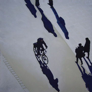 """Painting titled """"bike in the street"""" by Gerard Jouannet, Original Art, Acrylic Mounted on Stretcher frame"""