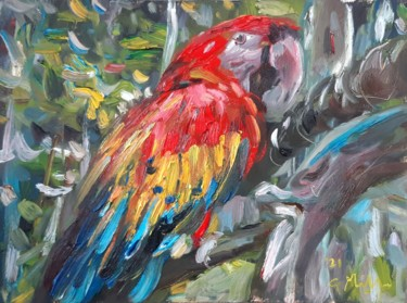 """Painting titled """"Papagei"""" by Gerry Miller, Original Art, Oil"""