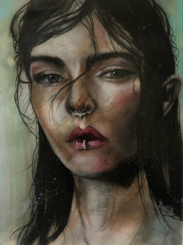 """Painting titled """"Arthurian girl"""" by Gianluca Fascetto, Original Art, Oil"""