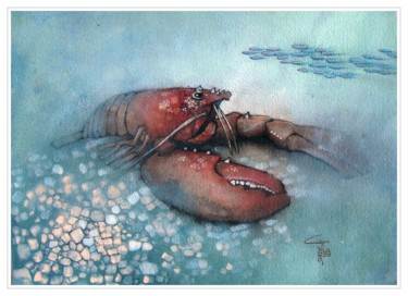 """Painting titled """"Lobster"""" by Gianluigi Punzo, Original Art, Watercolor"""