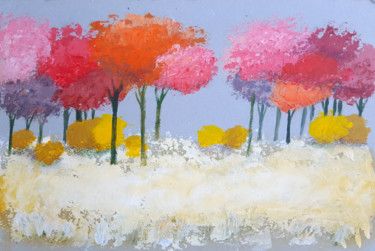"""Painting titled """"Autumn field."""" by Gia Revazi, Original Art, Acrylic Mounted on Cardboard"""