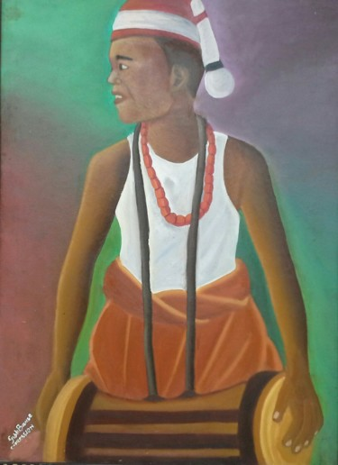 """Painting titled """"Drummer"""" by Giddibawse, Original Art, Oil"""