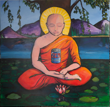 """Painting titled """"Zen, Peace in a can…"""" by Gideon Nel, Original Art, Acrylic"""