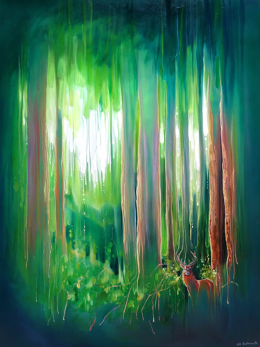 """Painting titled """"Deep in the Green W…"""" by Gill Bustamante, Original Art, Oil"""