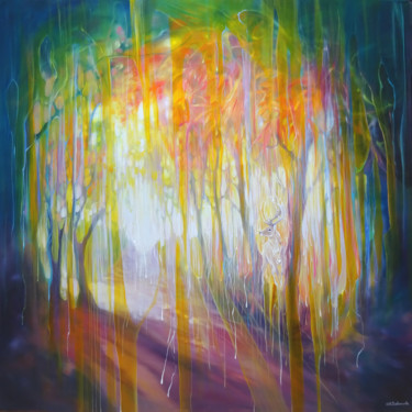 """Painting titled """"Layers of Autumn"""" by Gill Bustamante, Original Art, Oil Mounted on Stretcher frame"""