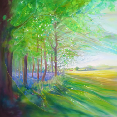 """Painting titled """"Bluebell Field"""" by Gill Bustamante, Original Art, Oil Mounted on Stretcher frame"""