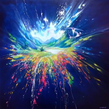 """Painting titled """"Act of Creation"""" by Gill Bustamante, Original Art, Oil Mounted on Stretcher frame"""