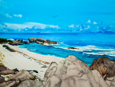 """Painting titled """"plage tropicale"""" by Gilles Mathieu, Original Art, Watercolor"""