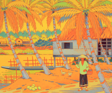 """Painting titled """"le mekong au laos"""" by Gilles Mével, Original Art, Acrylic Mounted on Stretcher frame"""