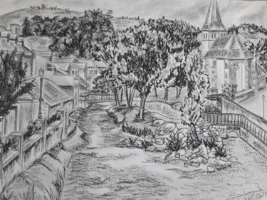 Countryside Drawing, pencil, illustration, artwork by Gilles Staub (LeCrayonAgile)