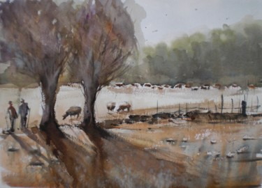 """Painting titled """"flock of sheep"""" by Giorgio Gosti, Original Art, Watercolor"""