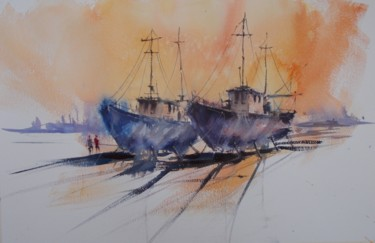 Painting, watercolor, impressionism, artwork by Giorgio Gosti