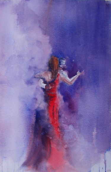 Music Painting, watercolor, impressionism, artwork by Giorgio Gosti