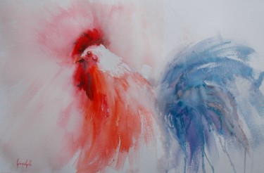 """Painting titled """"rooster 12"""" by Giorgio Gosti, Original Art, Watercolor"""