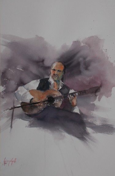 Musicians Painting, watercolor, impressionism, artwork by Giorgio Gosti