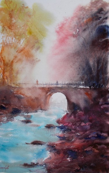 Landscape Painting, watercolor, impressionism, artwork by Giorgio Gosti