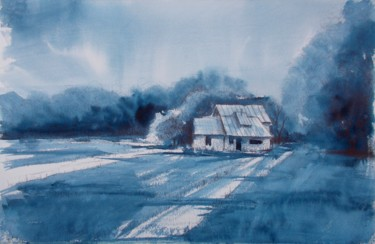 Countryside Painting, watercolor, impressionism, artwork by Giorgio Gosti