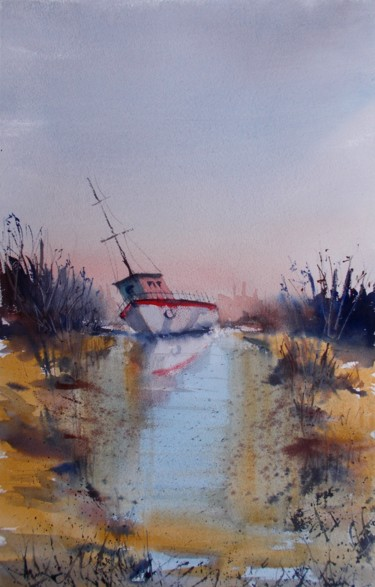 Boat Painting, watercolor, impressionism, artwork by Giorgio Gosti