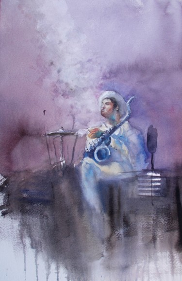 """Painting titled """"musician 3"""" by Giorgio Gosti, Original Art, Watercolor"""
