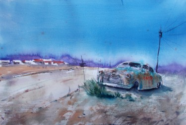 """Painting titled """"car wreck"""" by Giorgio Gosti, Original Art, Watercolor"""